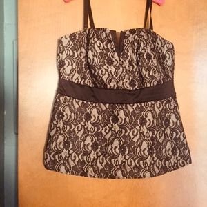 Torrid black lace/gold corset top, NWT.